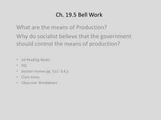 Ch. 19.5  Bell Work