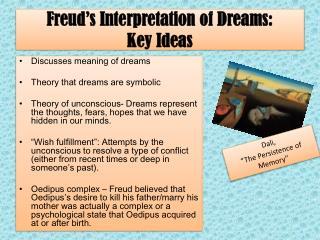 Freud's Interpretation of Dreams:  Key Ideas