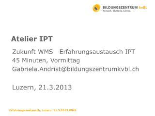 Zukunft WMS   Erfahrungsaustausch IPT 45 Minuten, Vormittag