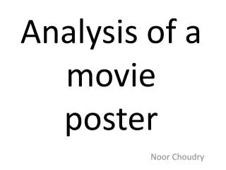 Analysis  of  a movie poster