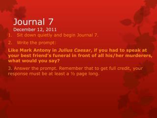 Journal 7 December 12, 2011