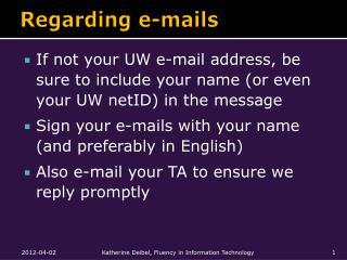 Regarding e-mails