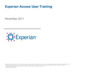 Experian Access User Training