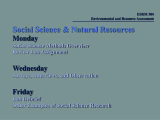 Social Science & Natural Resources