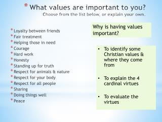 What values are important to you? Choose from the list below, or explain your own.