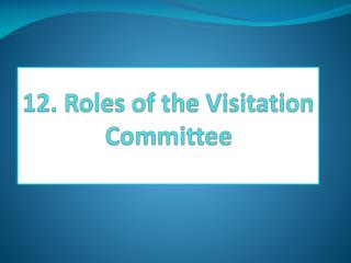 12. Roles of  the Visitation Committee