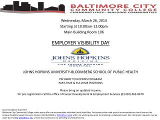 Wednesday, March  26,  2014  Starting at 10:00am-12:00pm Main Building Room 106