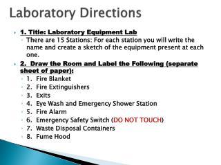 Laboratory Directions