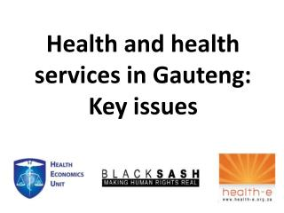 Health and health services in Gauteng: Key issues