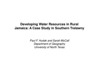 Developing Water Resources in Rural Jamaica: A Case Study in Southern Trelawny