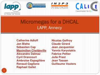 Micromegas  for a DHCAL LAPP , Annecy