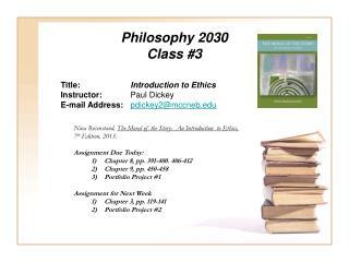 Philosophy 2030 Class #3