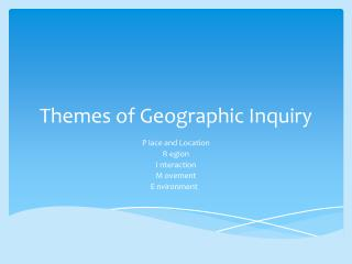 Themes of Geographic Inquiry