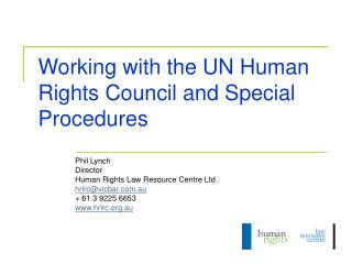 Working with the UN Human Rights Council and Special Procedures