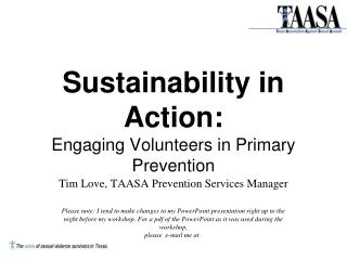 Sustainability in Action: Engaging Volunteers in Primary Prevention