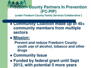 Community Coalition made up of 40+ community members from multiple sectors Mission: