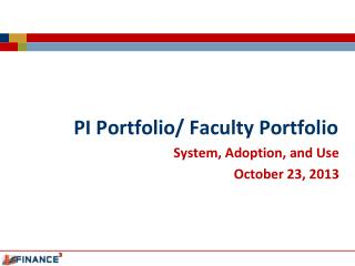 PI Portfolio/  Faculty Portfolio
