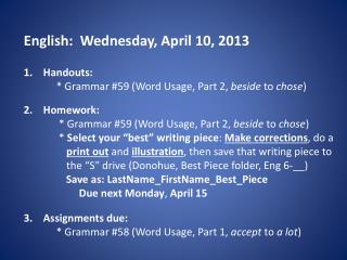 English:  Wednesday, April 10, 2013