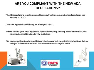 Are you compliant with the new ADA regulations?