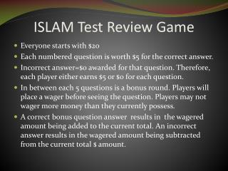 ISLAM Test Review Game