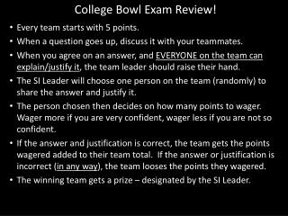 College Bowl Exam Review!