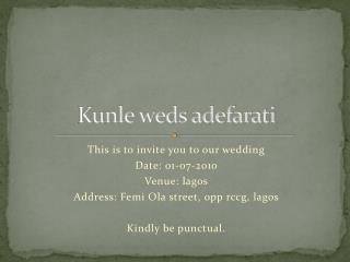 K unle weds adefarati