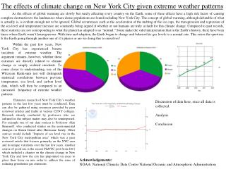 The effects of climate change on New York City given extreme weather patterns