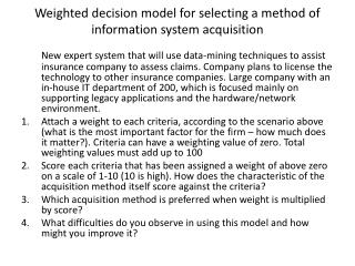 Weighted decision model for selecting a method of information system acquisition