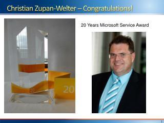 Christian  Zupan-Welter –  Congratulations!