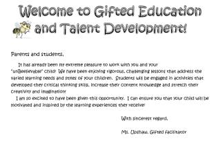 Welcome to Gifted Education and Talent Development!