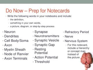 Do Now � Prep for Notecards
