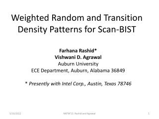 Weighted Random and Transition Density Patterns for Scan-BIST