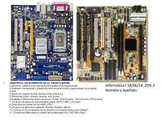 Informática I 18/06/14  20%  A Nombre y Apellido: