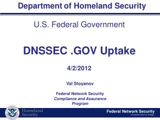 U.S. Federal Government DNSSEC .GOV Uptake 4/2/2012