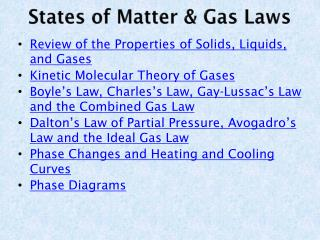 States of Matter & Gas Laws