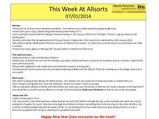 This Week At  Allsorts 07 / 01/2014