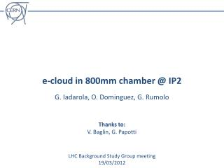 e-cloud in 800mm chamber @ IP2
