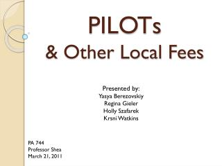 PILOTs & Other Local Fees