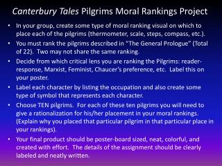 Canterbury Tales  Pilgrims  Moral Rankings  Project