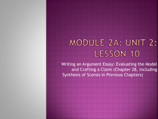 Module 2A: Unit 2: Lesson 10