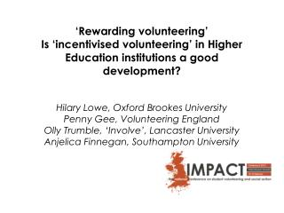'Rewarding volunteering'