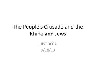 The People's Crusade and the Rhineland Jews