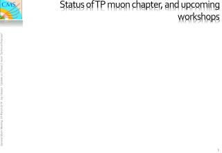 Status of TP muon  chapter,  and upcoming  workshops