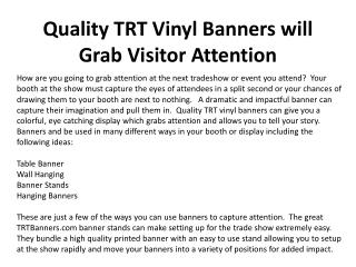 Quality TRT Vinyl Banners will Grab Visitor Attention