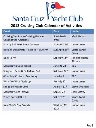 2013 Cruising Club Calendar of Activities