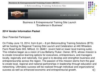 Business & Entrepreneurial Training Site Launch �Excellence in Business�