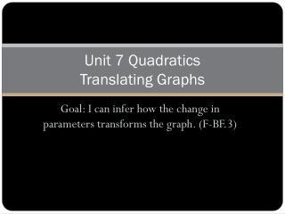 Unit  7  Quadratics Translating Graphs