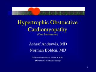 Hypertrophic Obstructive Cardiomyopathy Case Presentation