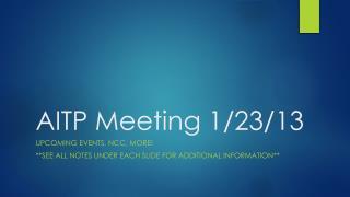 AITP  Meeting 1/23/13
