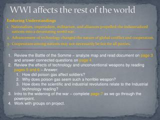 WWI affects the rest of the world